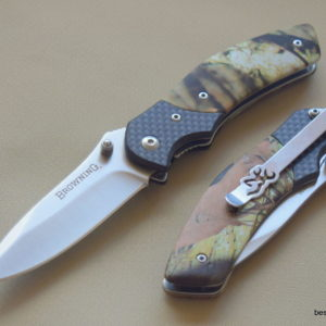 BROWNING CAMO HANDLE LINER-LOCK FOLDING POCKET KNIFE WITH POCKET CLIP