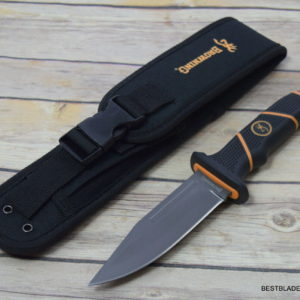 7 INCH BROWNING BUCKMARK HUNTER FIXED BLADE KNIFE LEATHER SHEATH THICK BLADE