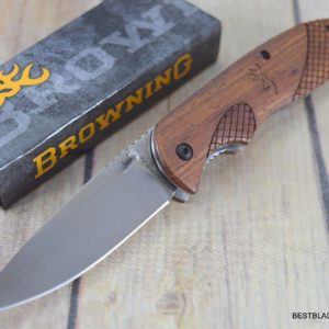 7 INCH BROWNING ROSEWOOD HANDLE FOLDING KNIFE WITH POCKET CLIP