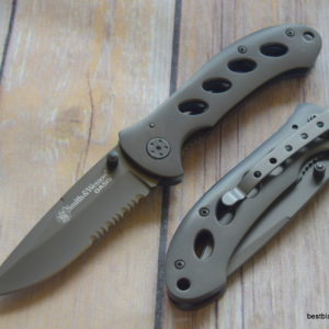 7.5 INCH SMITH & WESSON OASIS STAINLESS STEEL FOLDING KNIFE WITH POCKET CLIP SW423GS