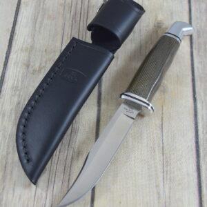 BUCK WOODSMAN 102GRS FIXED BLADE HUNTING KNIFE MADE IN USA, GENUINE LEATHER SHEATH