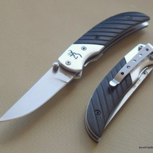 BROWNING PRISM II BLACK FOLDING POCKET KNIFE WITH POCKET CLIP