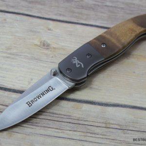 BROWNING BURL WOOD HANDLE LINER-LOCK FOLDING POCKET KNIFE WITH POCKET CLIP