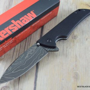 """KERSHAW """"SKYLINE"""" FOLDING POCKET KNIFE WITH CLIP """"MADE IN U.S.A"""" DAMASCUS BLADE"""