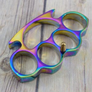 RAINBOW FINISH PAPER WEIGHT/METAL KNUCKLE H229