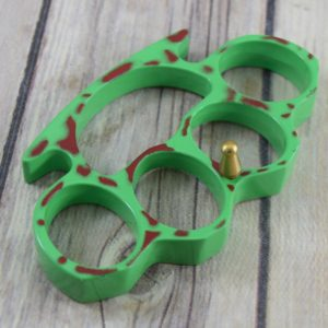 GREEN WITH RED SPLATTER FINISH PAPER WEIGHT/METAL KNUCKLE PK2289Z